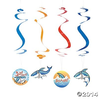 Shark Luau Ocean Sea Dangling Swirl Decorations 12 Count - 1