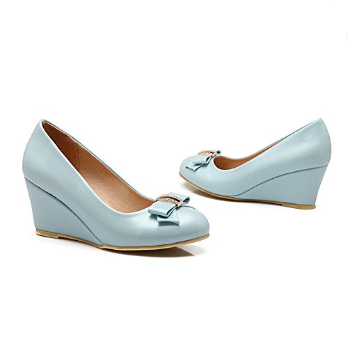 Spritech(TM) Women Girl Summer PU Leather Point Toe Bowknot Design Platform Wedges Shoes Blue 38