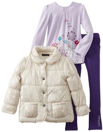 (超低)凯尔文Calvin Klein Puffy女童时尚 夹棉外套+T恤+裤3件套 $31.22