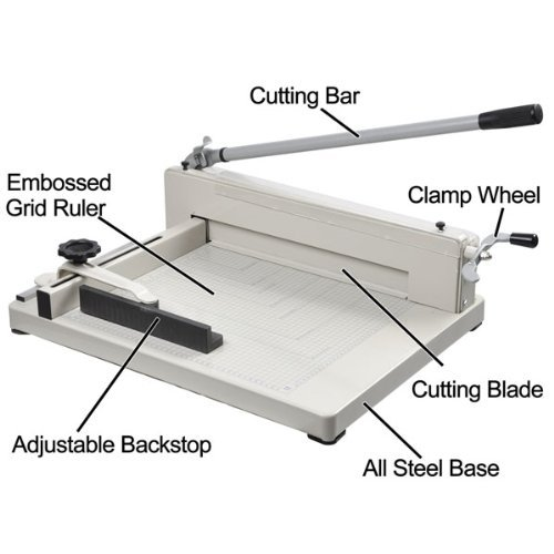 "Amzdeal ® 17"" Steel Heavy Duty Manual Guillotine Paper Cutter Trimmer Machine White w/ Inches Ruler Capacity 400 Sheets A3 for Office Commercial Photocopy Printing Shop"