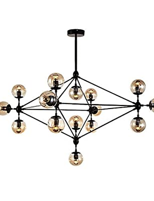 qiuxi High-end fashion Interior Ceiling lamp Modern Dimmable Modo Chandelier 15 Lights Semi-Flush Mounted Black Paiting Amber Glass for Living Room Loft Light , 110-120v
