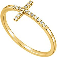 buy Diamond Sideways Cross 14K Yellow Gold Ring, Size 7.5