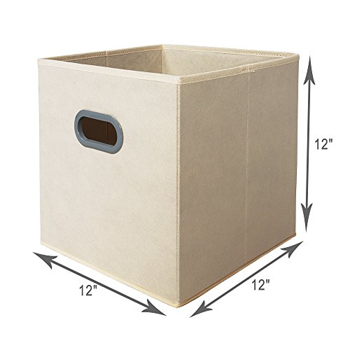 best house day fabric storage bins beige 12 inch cube box foldable fabric drawers with cut out. Black Bedroom Furniture Sets. Home Design Ideas