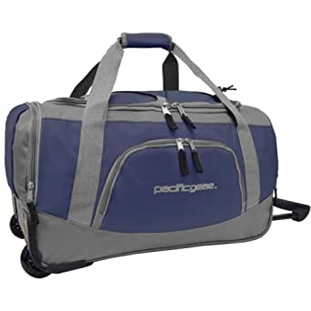 "Traveler's Choice Pacific Gear Lightweight 21"" Carry-On Rolling Duffel Bag - Navy"