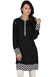 Rayon Tunic Solid Printed Colour Black (Medium)