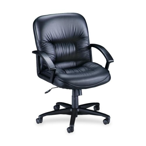 Lorell Mid-Back Managerial Chair, 25-3/4 by 29 by 38-1/2-Inch, Black Leather