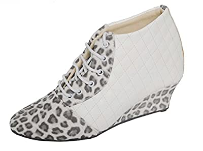Magic Tree White & Grey Leather Party Wear Ankle Length Boot