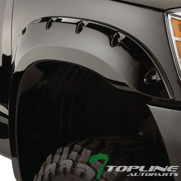 Topline Autopart Black Pocket Style Front+Rear Fender Flares Kit Wheel Cover 02-06 Chevy Avalanche (Fender Flares For Chevy Avalanche compare prices)