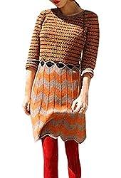 Women Round Neck Long Sleeve Design Color Block Pullover Dress