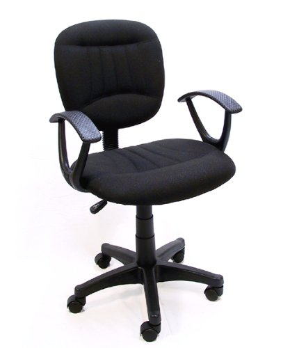Black Fabric Office Chair W/Arms, Gas Lift & Great Student Or Computer Chair