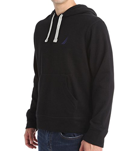 Nautica Men's Pullover Hooded Sweatshirt (Medium, True Black)