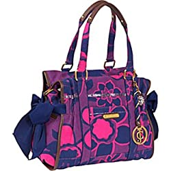 Juicy Couture Cotton Flower Print Sequin Ms Daydreamer Bag Tote Orchid