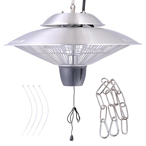 Yescom 1500W Round Electric Aluminium Hanging Halogen Heater for Indoor/Outdoor Gazebo Patio Parasol (Halogen Outdoor Heater compare prices)