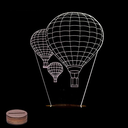 KINGMAS® 3D Night Light, Pmma Carving LED Lamp with Wooden Base Micro USB Table Lamp Room Decor Gift (Hot Air Balloon)