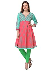 Aamii Women Block Printed Kurta (Aamii-837-M, Pink, Green, Medium)