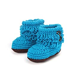 Mosunx (TM) Unisex Boy Girl Baby Newborn Infant Hand Knitting Crochet Beige Tassel Buckle Shoes Socks Boots (Blue)