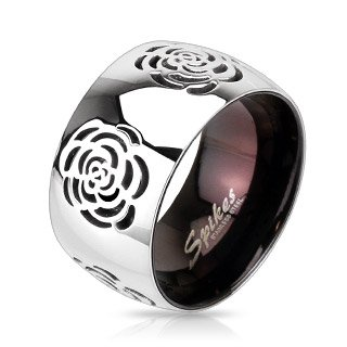 STR-0010 Stainless Steel Two Tone Black IP with Grooved Rose Band Ring; Comes With Free Gift Box (6)