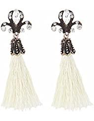 Young & Forever White Vintage Bohemia Long Tassel Drop Earings For Women For Women By CrazeeMania
