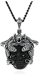 King Baby Unisex Small Medusa with Carved Jet Skull Pendant Necklace