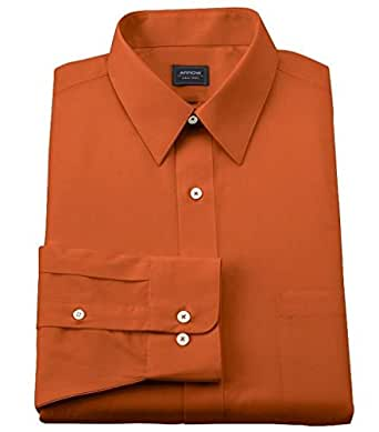 Arrow mens classic fit point collar poplin no iron dress shirt orange salmon 17 1 2 neck 34 35 - How to unwrinkle your clothes with no iron ...