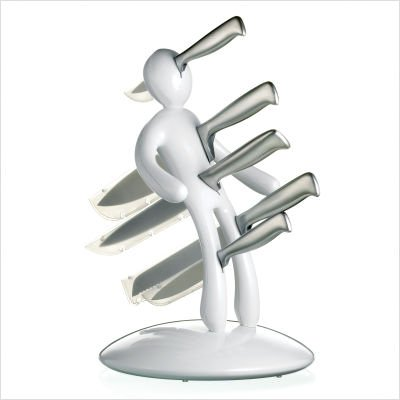 The Ex 5-Piece Knife Set with Unique White Holder Designed By Raffaele Iannello