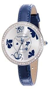 Naf Naf - N10082-208 - Vanille - Montre Femme - Quartz Analogique - Cadran Argent - Bracelet Cuir Bleu
