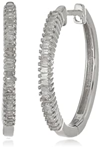 Sterling Silver Diamond Hoop Earrings (1/5 cttw, IJ Color, I2-I3 Clarity) by Verigold Jewelry
