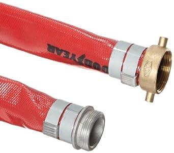 Continental ContiTech Spiraflex Red PVC Medium Duty Discharge Hose Assembly, Aluminum NPSH Male x Brass Female Swivel Couplings