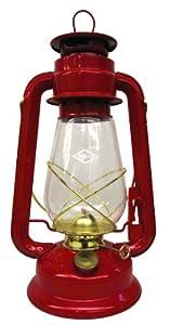 V&O 210-21030 Pathfinder Brass Trim Oil Lantern, Red