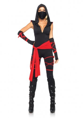 Leg-Avenue-Costumes-4Pc-Deadly-Ninja-Catsuit-Waist-Sash-Arm-Warmers-Mask-Wraps