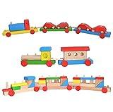 Obique Jouets en Bois pour Enfants Ensemble de 3, Un Train avec Locomotive et Un Wago