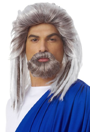 Deluxe Platinum Grey King Of The Sea Wig And Beard Set - Adult Std.