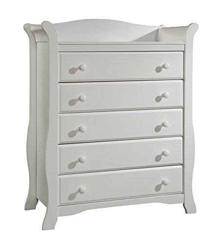 Stork Craft Avalon 5 Drawer Universal Dresser, White
