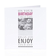 Photographic Relaxing in Garden Birthday Card
