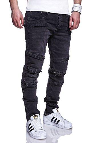 MT Styles Zipper Jeans Slim Fit Hose RJ-1153 [Schwarz, W32/L32]