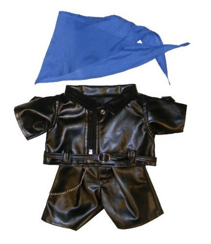 "Biker Outfit Teddy Bear Clothes Fits Most 14"" - 18"" Build-A-Bear, Vermont Teddy Bears, and Make Your Own Stuffed Animals - 1"
