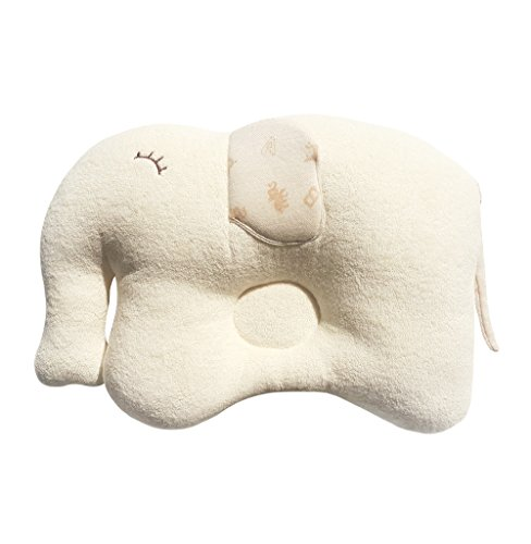 Baby Pillow/ Infant Elephant Sleeping Pillow Prevent Flat Head, 100% Organic Cotton