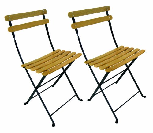 Furniture Designhouse 5599CN-BK Handcrafted French Bistro Park Folding Side Chair with Clear Painted European Chestnut Natural Colored Wood Slats, Jet Black Frame, (Pack of 2)