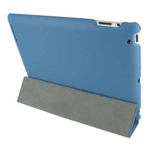 rooCASE Ultra Slim Leather Case for iPad 2 - Blue - Back