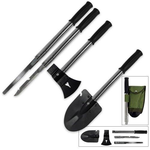 "VAS 9N1 MULTI TOOL - Extended Length : 17-3/4"" • Collapsed Length: 12-1/2"" • Shovel Head Size: 6- 3/4"" x 4- 5/8"" • Shovel Thickness: 5/64"" • Blade Length: 8"" • Saw Length: 8-3/4"" • Hardened Steel Material • 9-IN-1 Features: (1) Shovel (2) Axe (3) Ham..."