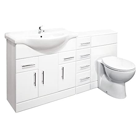 White Gloss 850mm Vanity Unit, Tap and BTW WC and 4 Drawer Pack