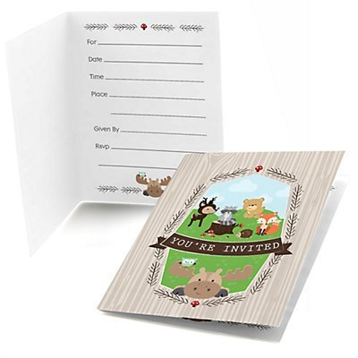 Woodland Creatures - Fill In Baby Shower or Birthday Party Invitations - Set of 24 (Forest Baby Shower Invitations compare prices)