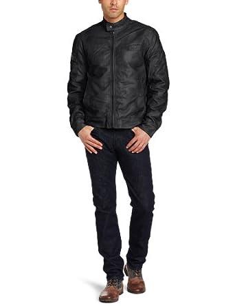 (超帅)美国人气犀牛系列品牌 Marc Ecko Cut and Sew 型男哈雷MOTO夹克 黑色 $64.94