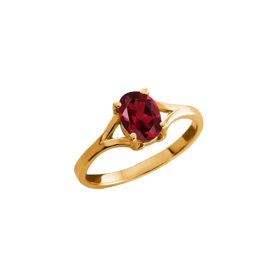 0.90 Ct Oval Red Garnet 14k Yellow Gold Ring Jewelry