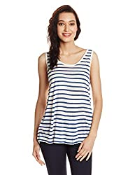 Gant Women's Body Blouse Tank (GWTHF0011_White and Blue_Large)