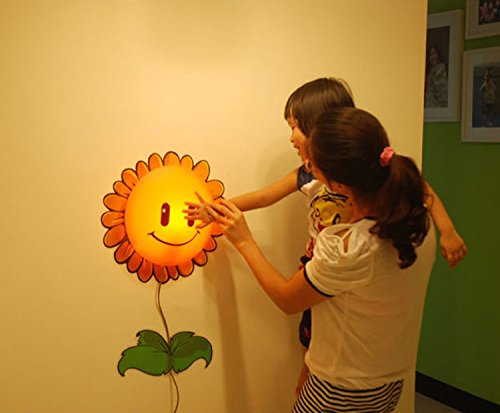 Worldoor® DIY 3D Wallpaper Novelty Cartoon Wall Stickers Home Room Decor Decoration LED Night Light Lamp for Kids' Bedroom / Novelty DIY 3D Cartoon Wallpaper Stickers& Wall Lamp Kids,Children Lovely Bedroom Wall Lamp 4 Patters (Sunflower)