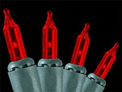Set of 50 Red Mini Christmas Lights - Green Wire