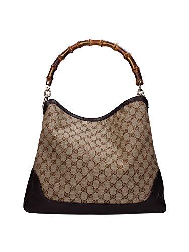 Borse a Spalla Gucci Donna Tessuto Marrone Scuro e Beige 282315FWCGG9643 13x33x39 cmEU