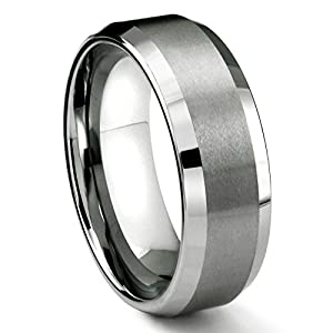 8MM Tungsten Metal Men's Wedding Band Ring in Comfort Fit and Matte Finish