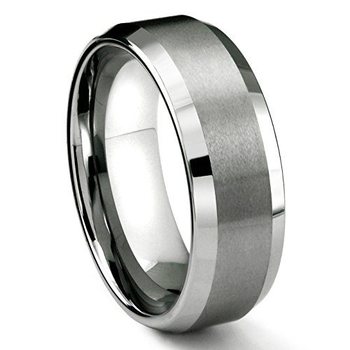 8MM Tungsten Metal Men's Wedding Band Ring in Comfort Fit and Matte Finish Sz 10.5